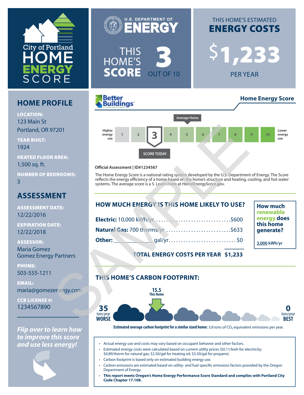 Front page of City of Portland Home Energy Score