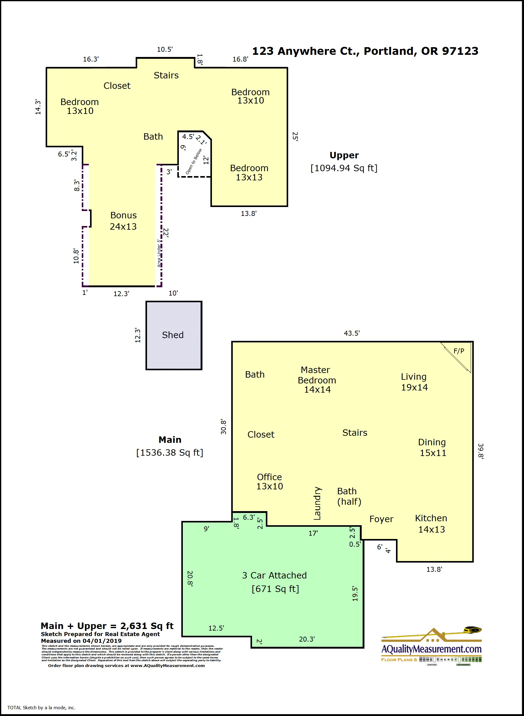 This sketch shows just what is needed to list a home with area and room measurements.