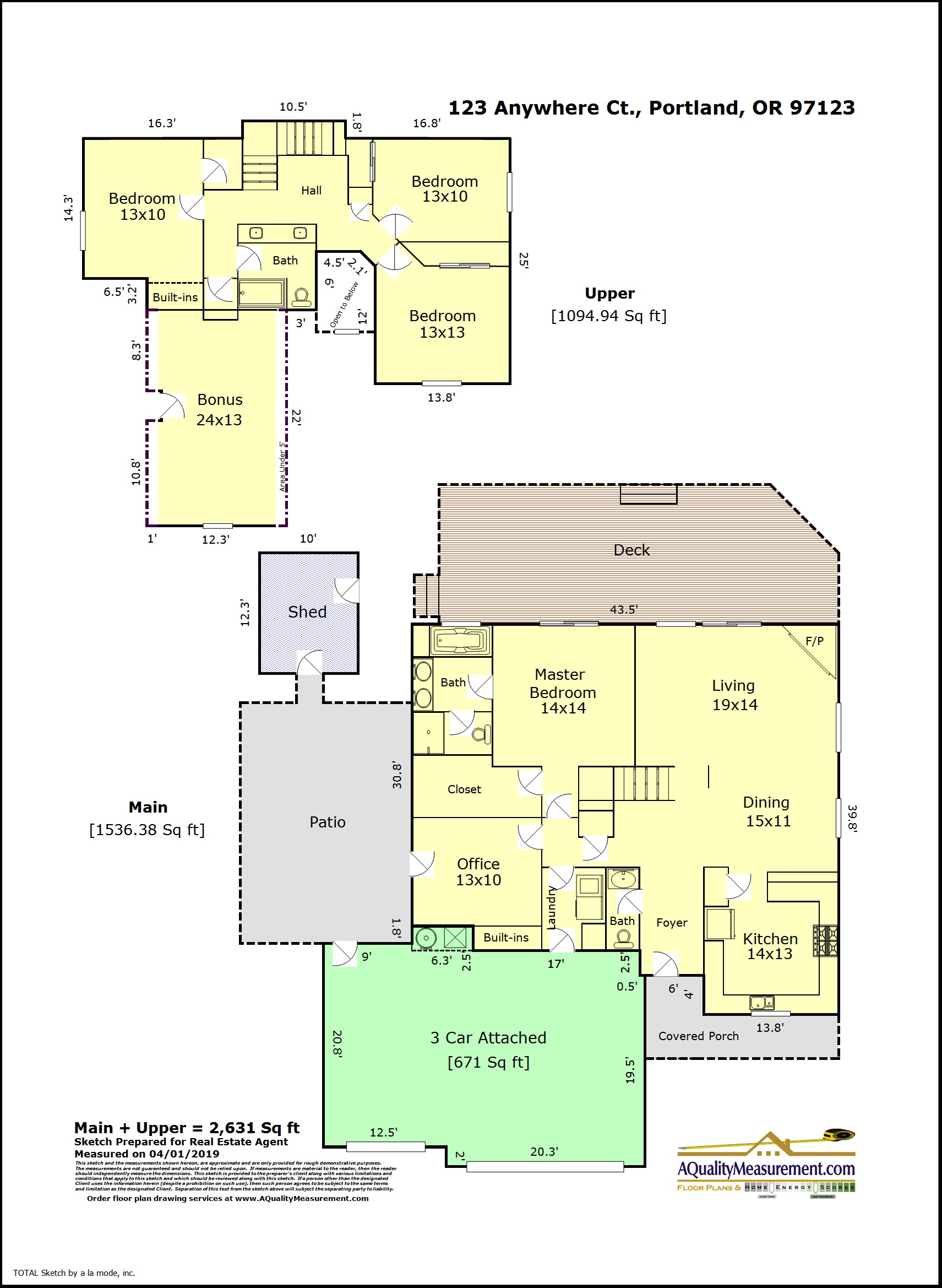 This floor plan shows the interior walls, door, counters, and windows.